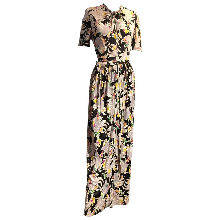 1940s Lady Alice Tropical Print Rayon Jersey Dressing Gown For Sale ...