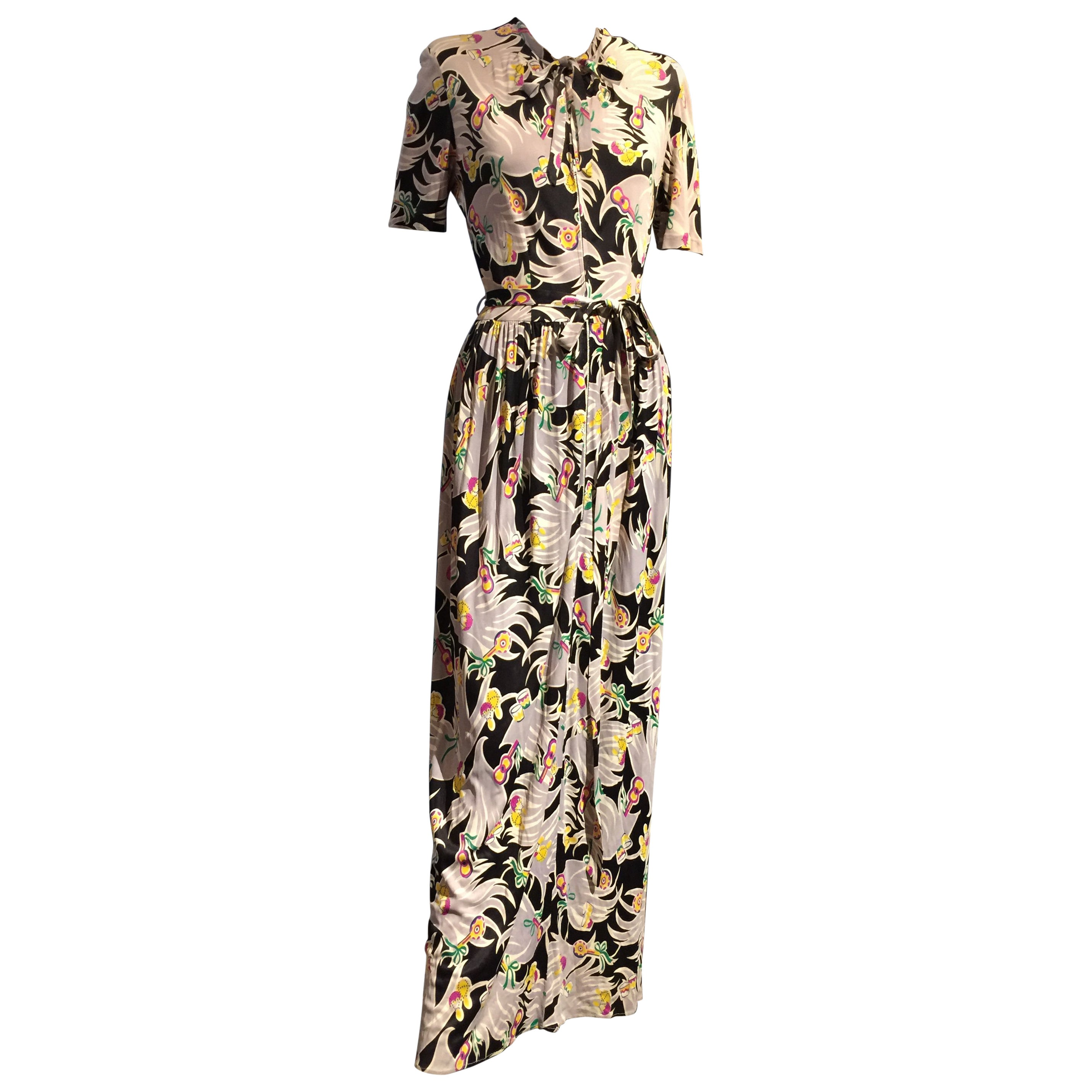 1940s Lady Alice Tropical Print Rayon Jersey Dressing Gown