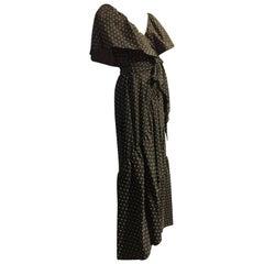 1970s Halston Cotton Voile Woven Dot Wrap-Around Wrap Maxi Dress w Ruffle