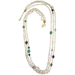 Goossens Paris Pearl and Tinted Blue Rock Crystal Triple Row Long Necklace