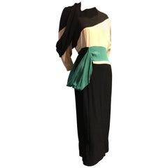 1940s Iconic Adrian Original Cubist-Inspired Dress in Green Gray and Black Drape