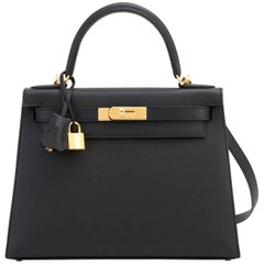 Hermes Black 28cm Kelly Epsom Sellier Gold Hardware A Stamp Shoulder Bag