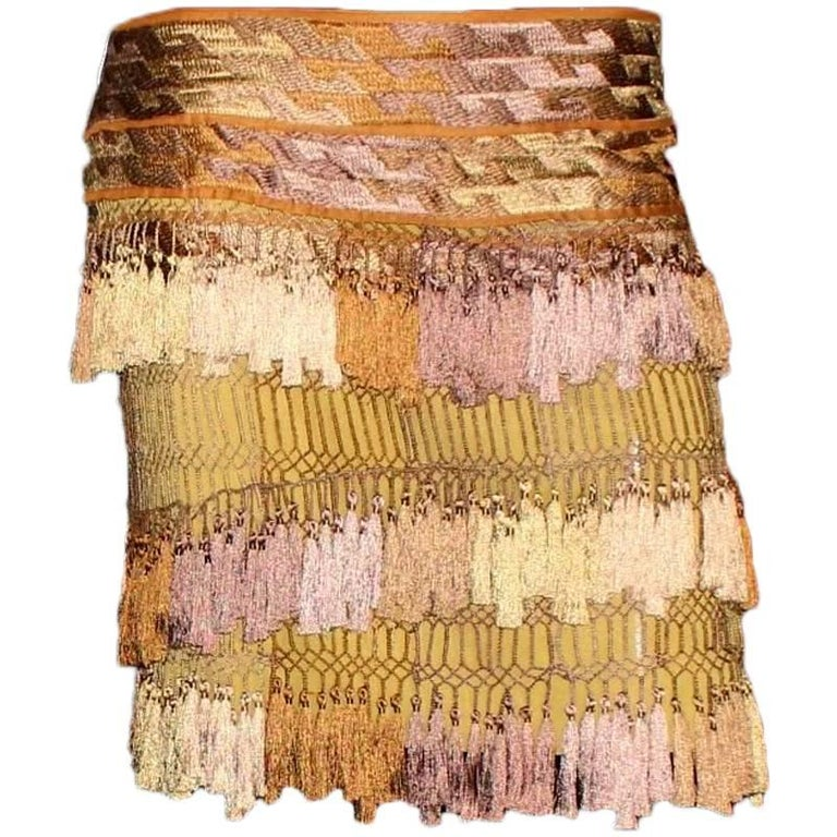 Gucci Ombre Macrame Tassel Silk Embroidery Skirt