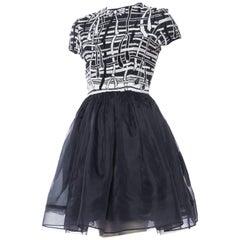 Fully Beaded Flirty Silk Dress with Bow