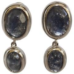 Goossens Paris Art Deco Grey/Blue Rock Crystal Double Drop Clip Earrings