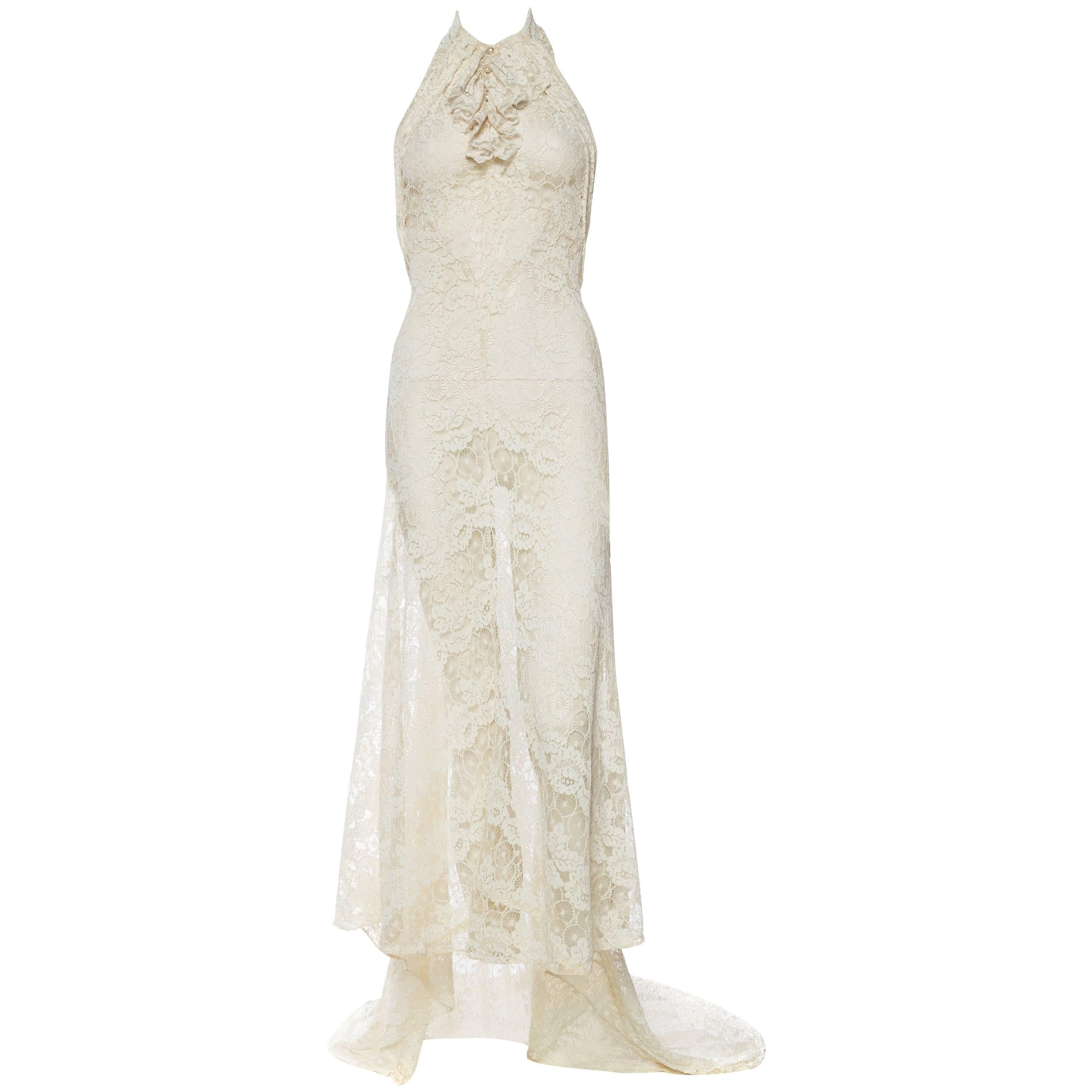1930S Ivory Cobweb Lace Backless Halter Gown With Train