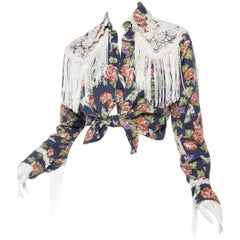 Floral Western Shirt with Fringe and Victorian Lace