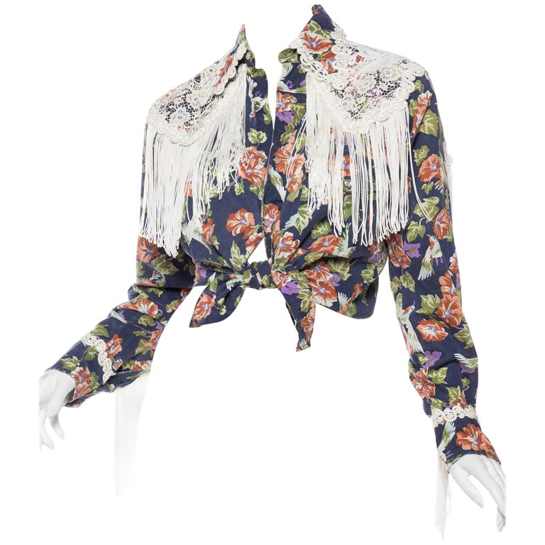 Floral Western Shirt with Fringe and Victorian Lace For Sale