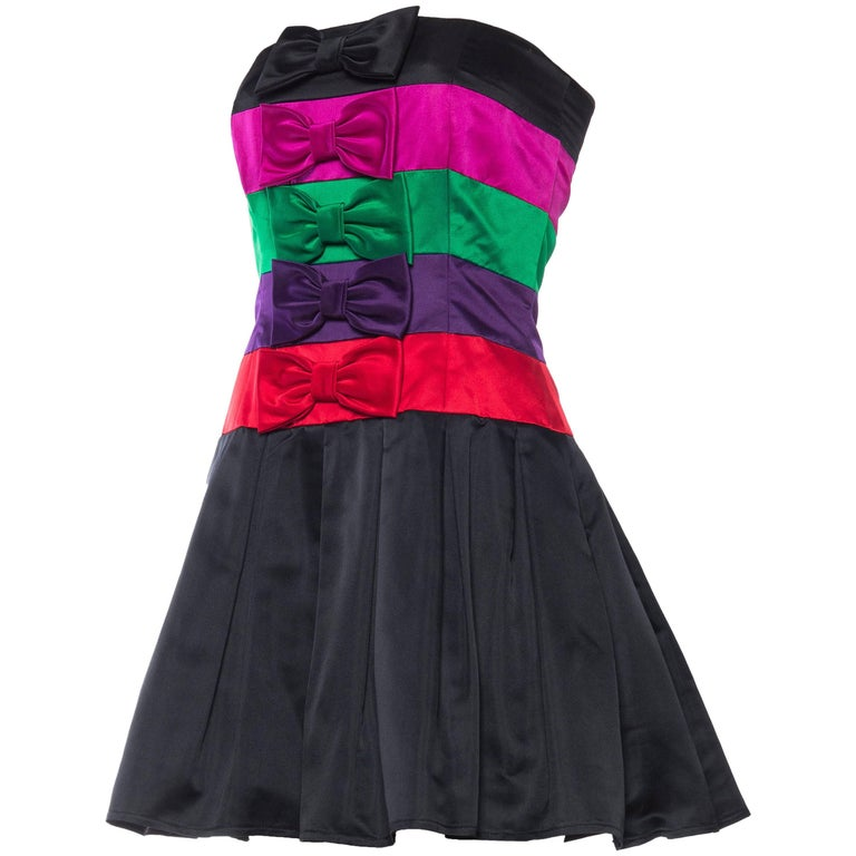 1980s Strapless Albert Nipon Demi-Couture Silk Dress with Bows