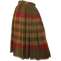 Ungaro Plaid Button Up Pleated Skirt with Pocket Size 4