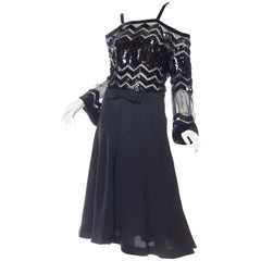 1960s Jacques Reval Demi-Couture Beaded Sheer Dress