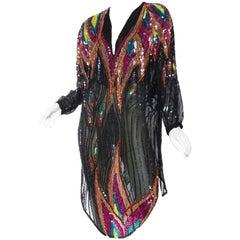 1970s Neil Bieff Sheer Sequined Disco Tunic Dress