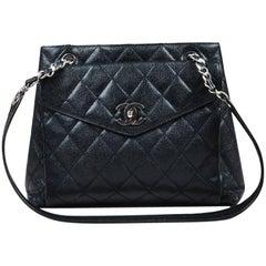 Vintage Chanel Black Caviar Leather 'CC' Flap Shoulder Bag