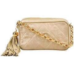 Vintage Chanel Beige Quilted Chain Strap Tassel 'CC' Shoulder Camera Bag