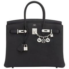 Hermes Black Togo 35cm Birkin Palladium Hardware Bag A Stamp