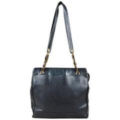 Vintage Chanel Black Caviar Leather Chain Strap Shoulder Bag