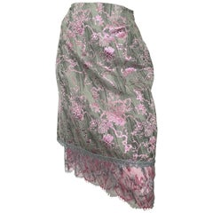Christian Lacroix 1990s Metallic with Lace Trim Skirt Size 8.