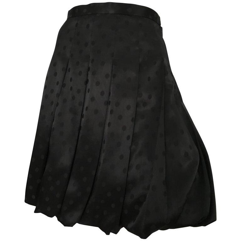 Comme des Garçons Black Polka Dot Pleated Bubble Skirt Size 6.
