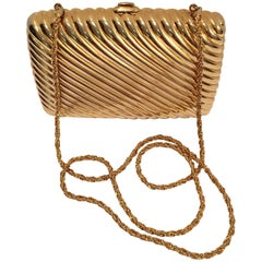 Judith Leiber Gold Gilt Ribbed Minaudière Box Clutch