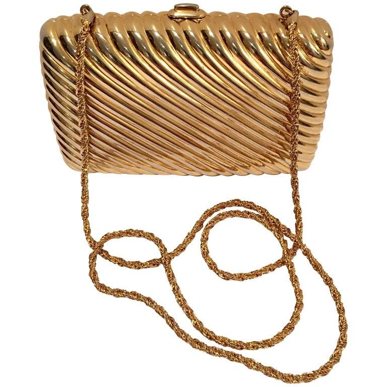 20th Century Judith Leiber Gold Gilt Ribbed Minaudière Box Clutch For Sale