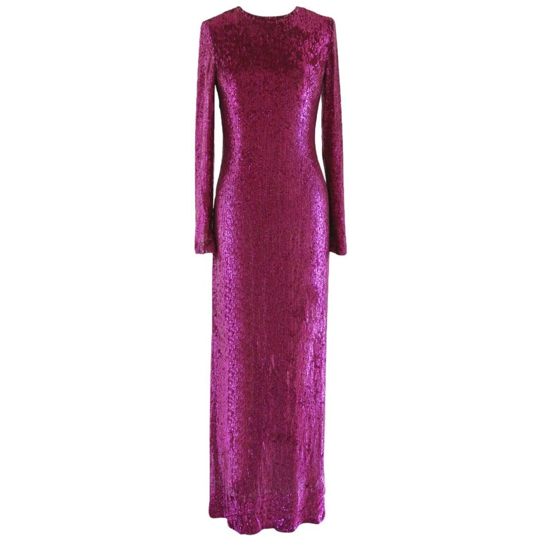 Lorry Newhouse Floor Length Sequin Dress with Long Sleeves - Raspberry Pink