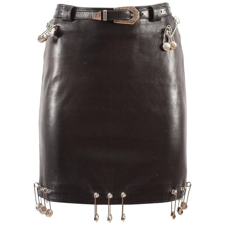 Gianni Versace Spring-Summer 1994 black lambskin leather skirt with safety pins