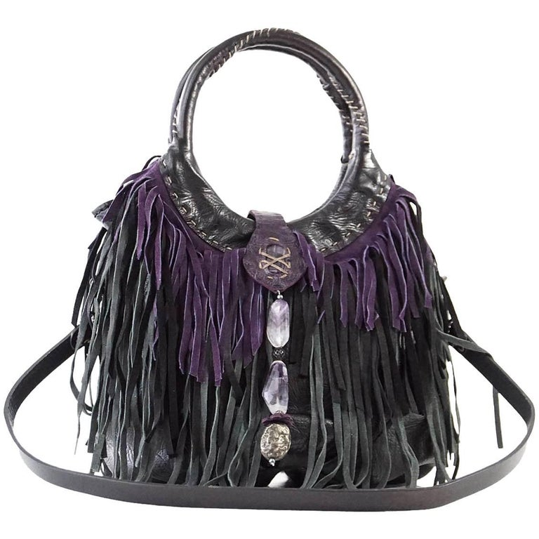 Henry Beguelin Bag Fringe Folies Bijoux Shoulder / Handbag Semi Precious Stones For Sale