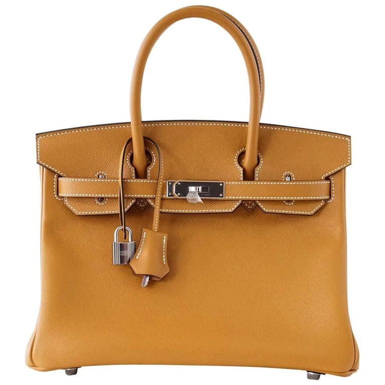 Hermes Birkin 30 Bag New Toffee Epsom Palladium Hardware