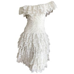 Loris Azzaro Vintage 1970's Off the Shoulder Lace Dress