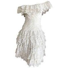 Loris Azzaro Vintage Off the Shoulder Lace Dress, 1970s