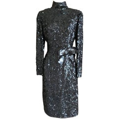 Norman Norell 1960's Sequin Cocktail Dress with Attached Bow Belt