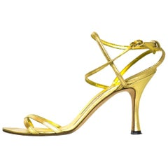 Manolo Blahnik Gold Strappy Sandals Sz 37.5 with DB