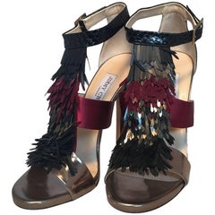 Jimmy Choo Black Purple and Gunmetal Fringe Trim Strap Heels