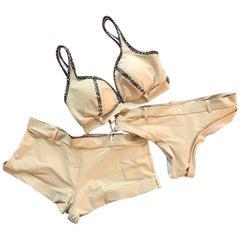 Alexander McQueen 2005 Sample Tan Leopard Three Piece Bikini Swimsuit Bathing