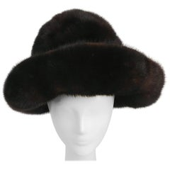 1970s Brown Wide Brim Mink Hat