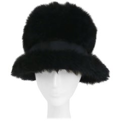1960s Black Beaver Fur Mod Cloche