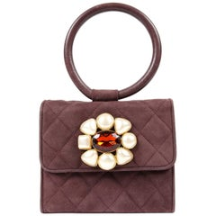 Chanel Wine Suede Gripoix Jeweled Evening Bag