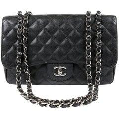 Chanel Black Caviar Jumbo Classic Single Flap Bag