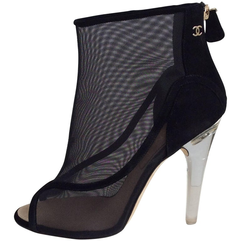 Chanel Black Mesh Booties With Clear Acrylic  Heel Sz 39 For Sale