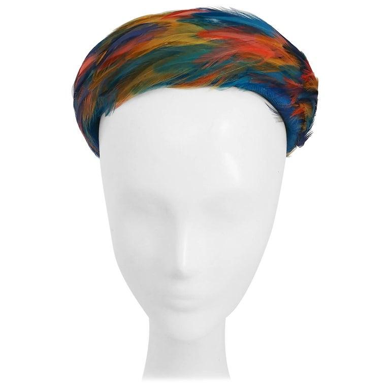 1960s Bright Rainbow Feather Hat