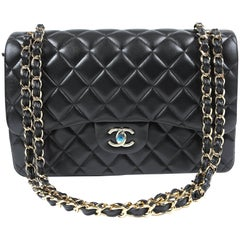 Chanel Black Lambskin Jumbo Classic Double Flap Bag