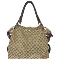 Gucci Beige GG Monogram Canvas Bamboo Bar Large Travel Tote