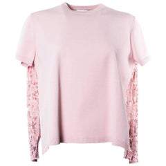 Valentino Women's Pink Paneled Pleated Knit Top