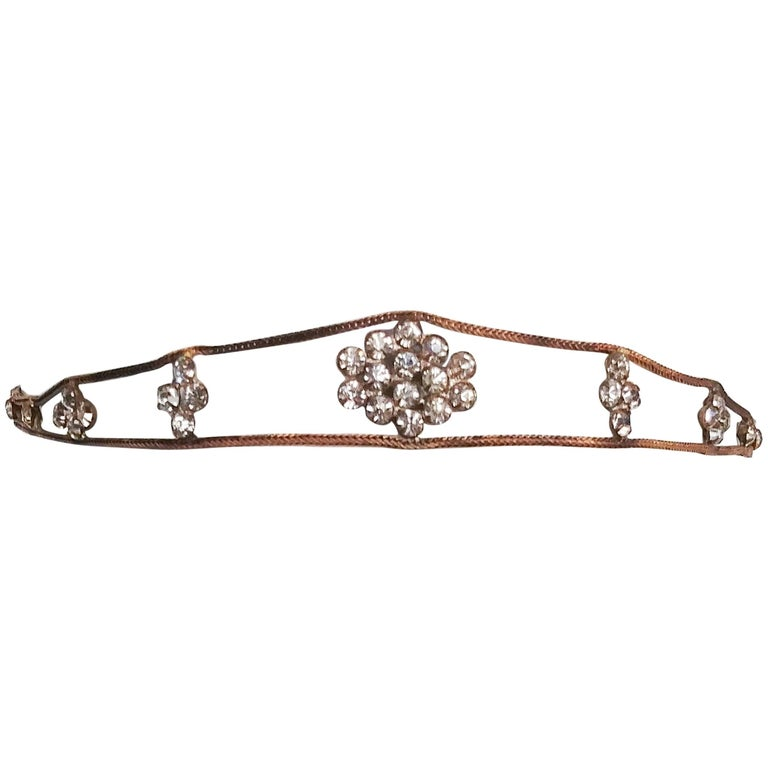 1920s Crystal and Brass Openwork Headband