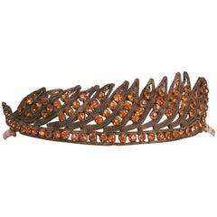 1920s Feather Motif Crystal Headband