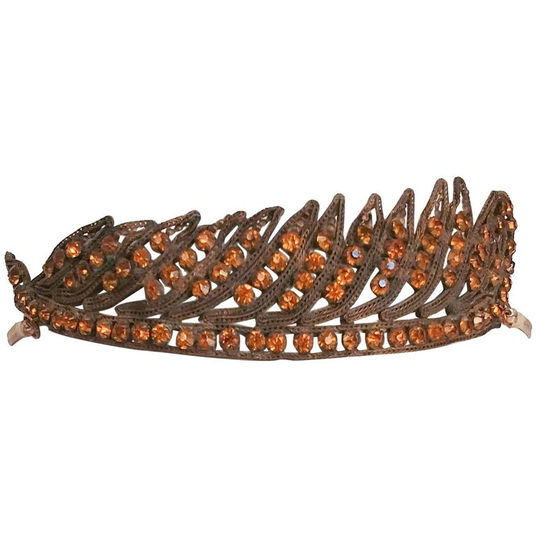1920s Feather Motif Crystal Headband