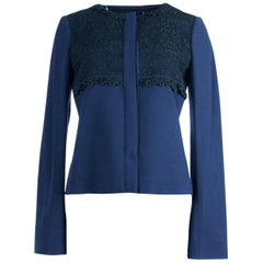 Valentino Women's Navy Lace Accented Snap Jacket