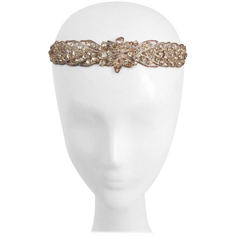 1920s Crystal and Brass Headband