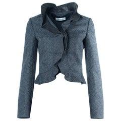 Valentino Women's Gray Tweed Ruffle Jacket