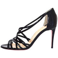 Christian Louboutin NEW Black Patent Ete Sandals sz 37 NIB w/BOX/DB